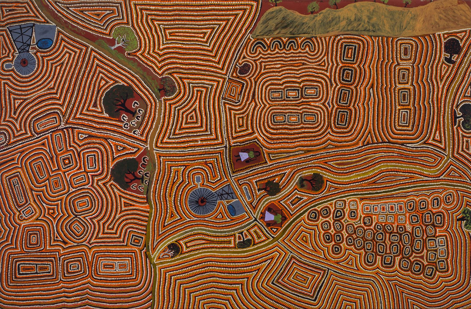 Biddy Wavehill Yamawurr Nangala and Jimmy Wavehill Ngawanyja Japalyi, Jinparrak (Old Wave Hill Station), 2015, acrylic on canvas, 150 x 96cm. Courtesy the artists and Karungkarni Art and Culture Aboriginal Corporation.