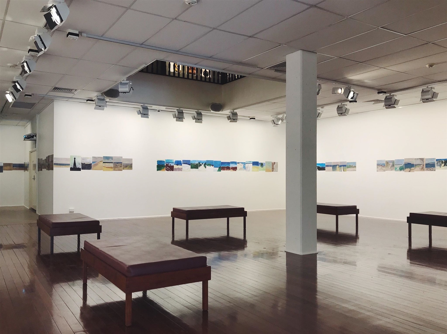 Installation shot of Postcards From The Edge at the Geraldton Regional Art Gallery